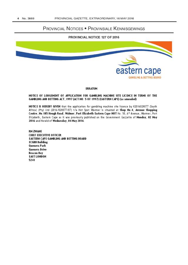 Eastern cape gambling betting board south africa casino de la vallee